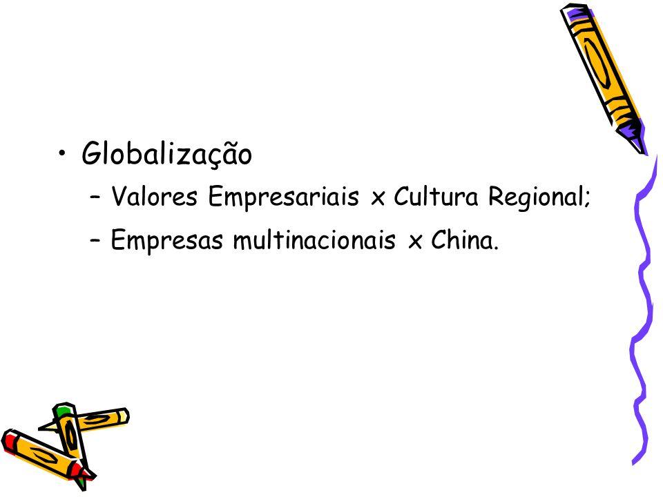 Globalização Valores Empresariais x Cultura Regional;