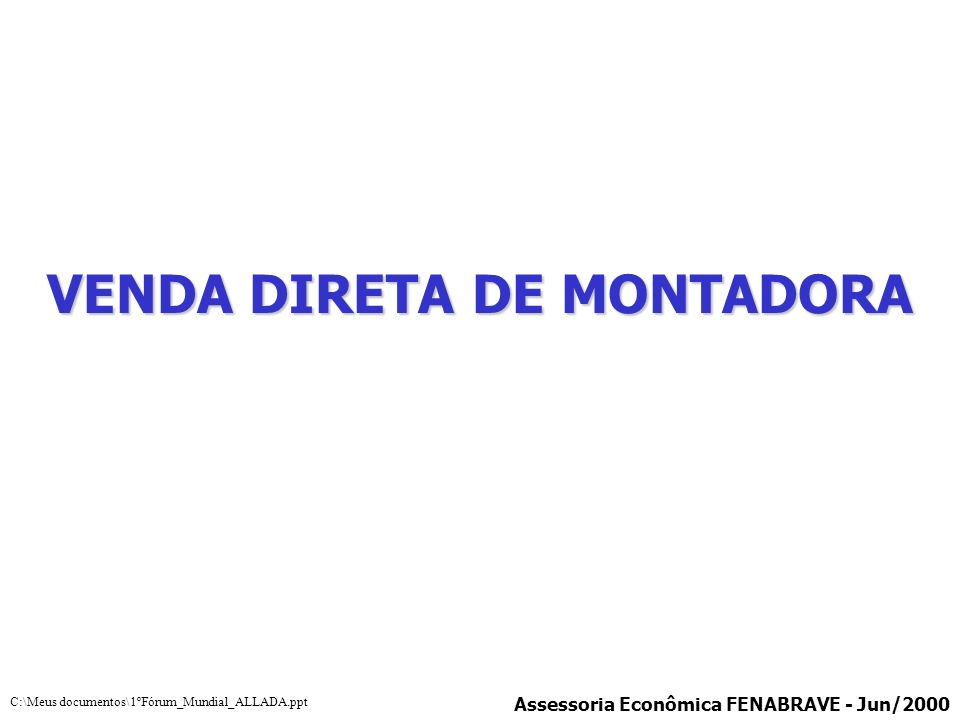 VENDA DIRETA DE MONTADORA