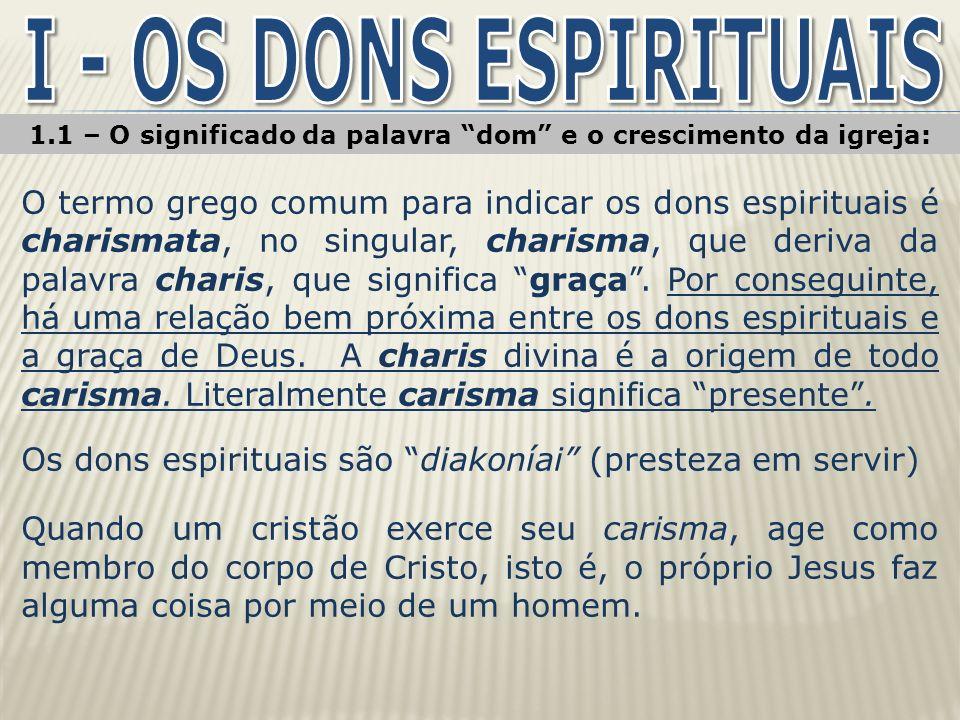 1.1 – O significado da palavra dom e o crescimento da igreja: