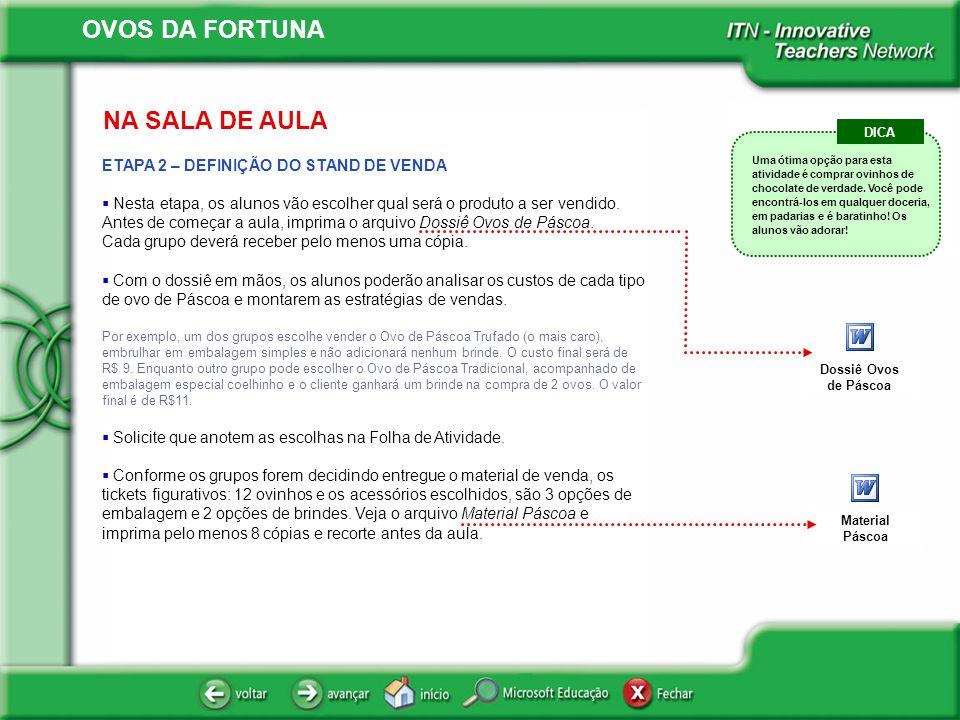 NA SALA DE AULA DICA. ETAPA 2 – DEFINIÇÃO DO STAND DE VENDA.