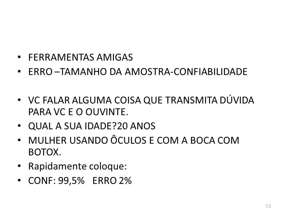 FERRAMENTAS AMIGAS ERRO –TAMANHO DA AMOSTRA-CONFIABILIDADE. VC FALAR ALGUMA COISA QUE TRANSMITA DÚVIDA PARA VC E O OUVINTE.
