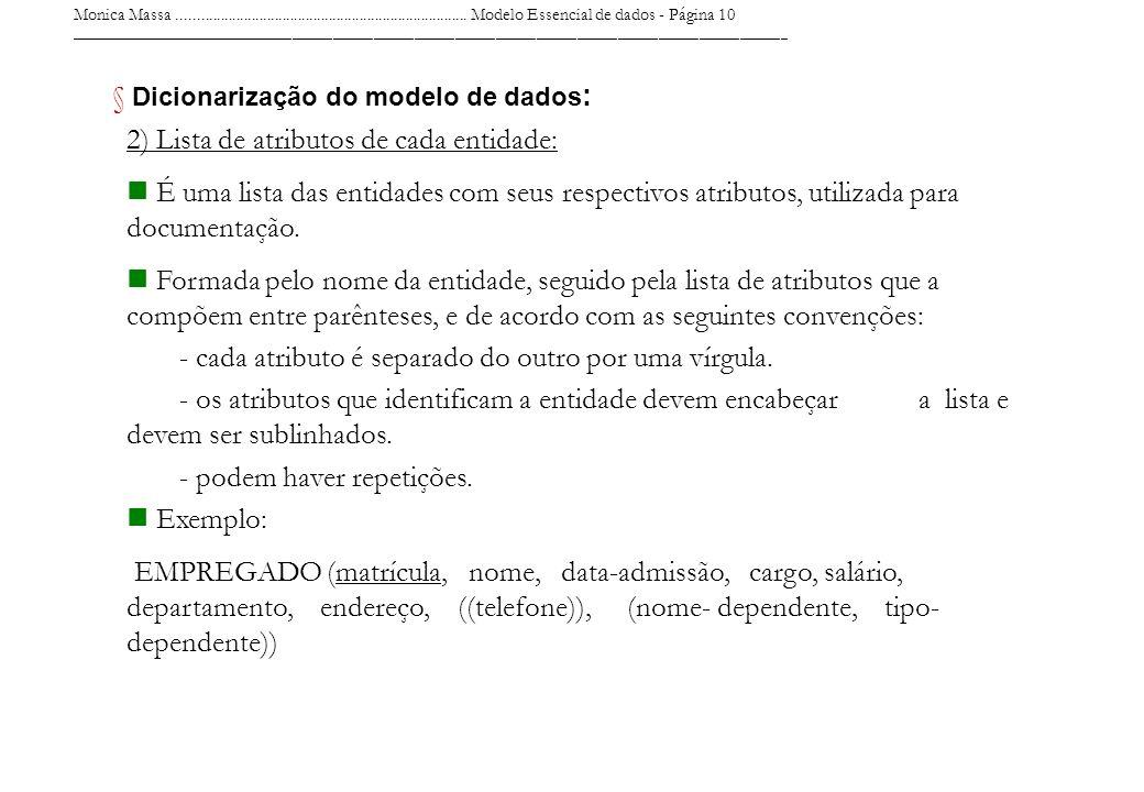 Dicionarização do modelo de dados: