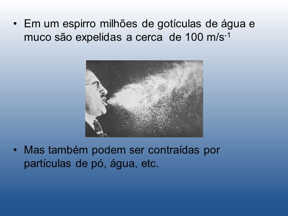 Em um espirro milhões de gotículas de água e muco são expelidas a cerca de 100 m/s-1