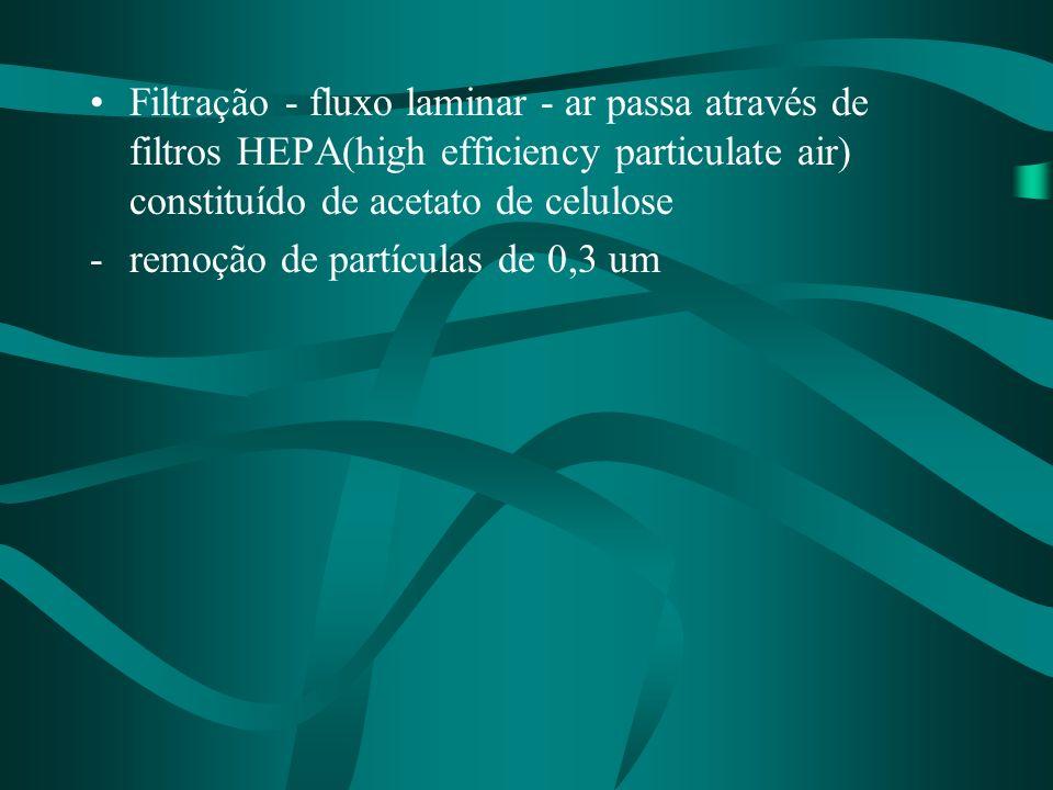 Filtração - fluxo laminar - ar passa através de filtros HEPA(high efficiency particulate air) constituído de acetato de celulose