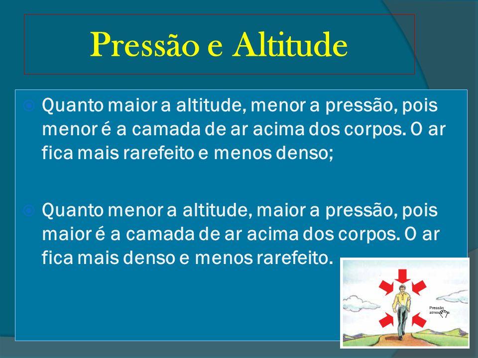 Pressão e AltitudeQuanto maior a altitude, menor a pressão, pois menor é a camada de ar acima dos corpos. O ar fica mais rarefeito e menos denso;