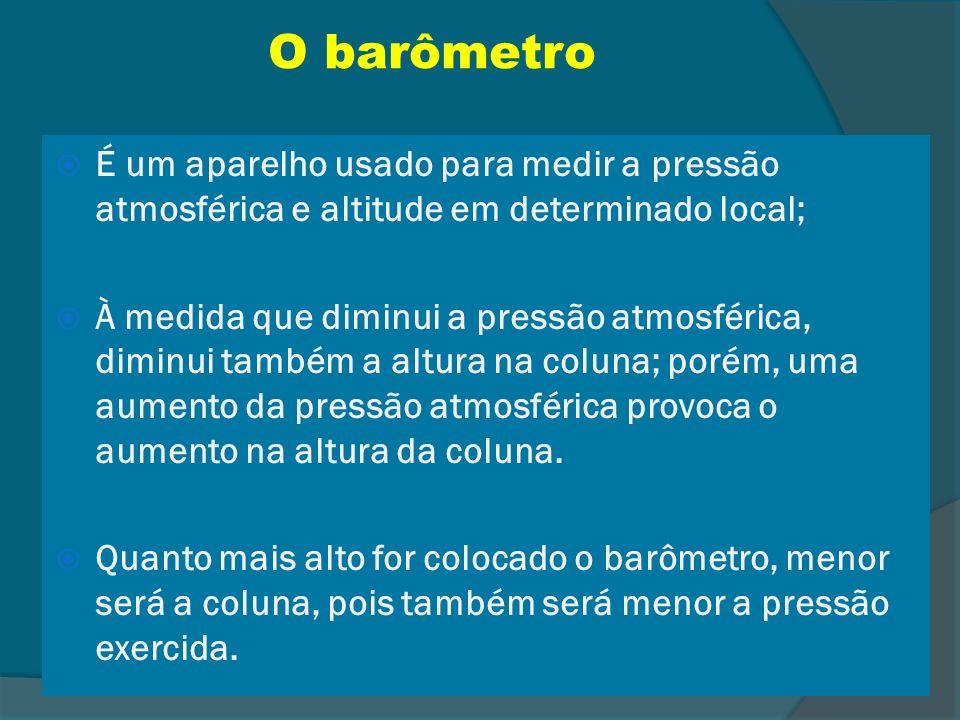 O barômetroÉ um aparelho usado para medir a pressão atmosférica e altitude em determinado local;