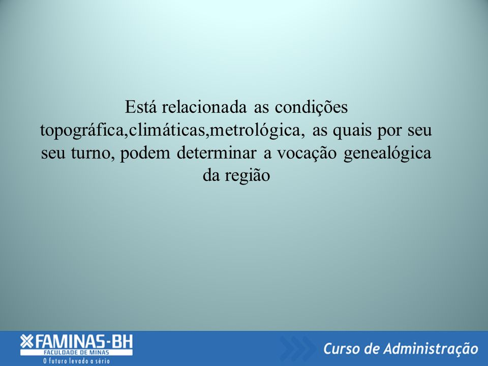 Está relacionada as condições topográfica,climáticas,metrológica, as quais por seu seu turno, podem determinar a vocação genealógica da região