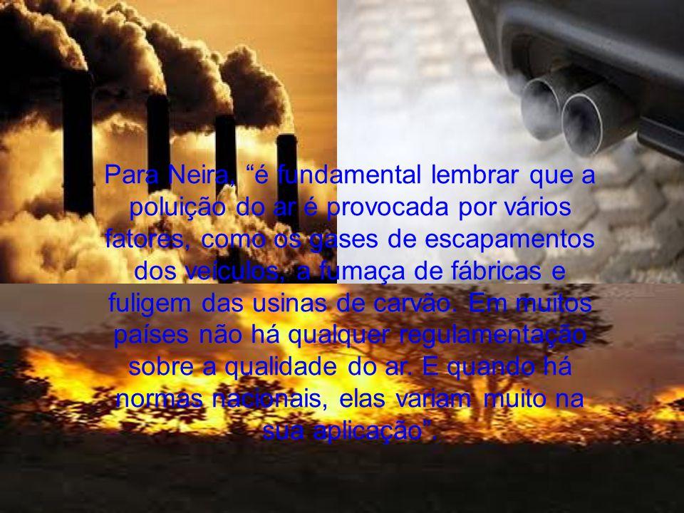 Para Neira, é fundamental lembrar que a poluição do ar é provocada por vários fatores, como os gases de escapamentos dos veículos, a fumaça de fábricas e fuligem das usinas de carvão.
