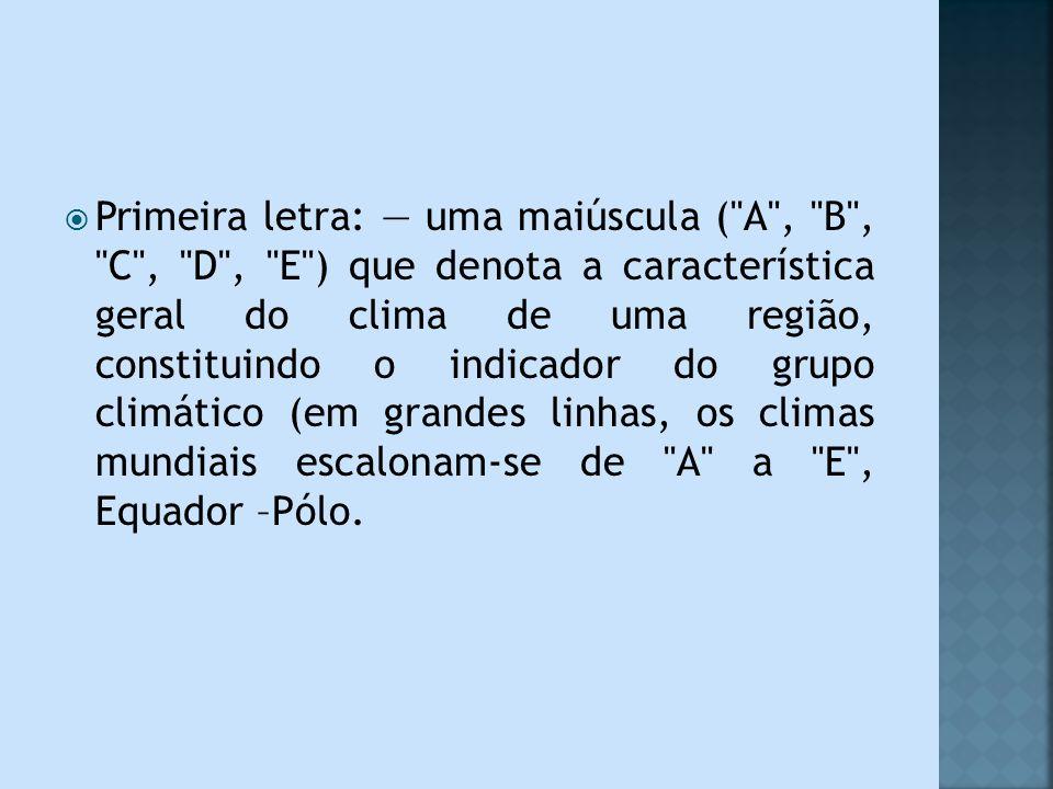 Primeira letra: — uma maiúscula ( A , B , C , D , E ) que denota a característica geral do clima de uma região, constituindo o indicador do grupo climático (em grandes linhas, os climas mundiais escalonam-se de A a E , Equador –Pólo.