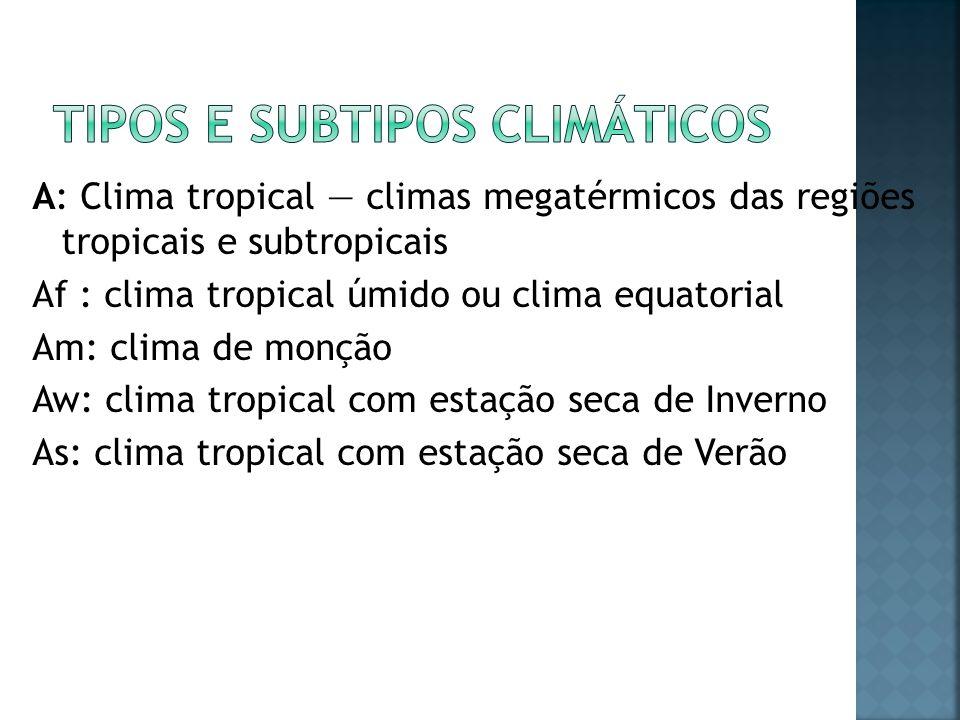 Tipos e subtipos climáticos