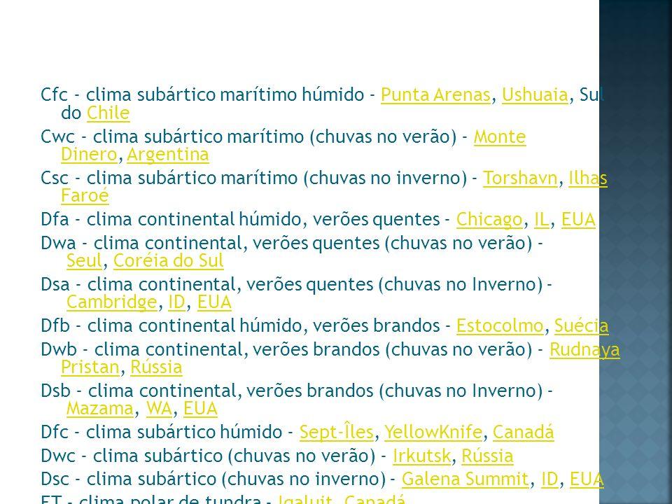 Cfc - clima subártico marítimo húmido - Punta Arenas, Ushuaia, Sul do Chile Cwc - clima subártico marítimo (chuvas no verão) - Monte Dinero, Argentina Csc - clima subártico marítimo (chuvas no inverno) - Torshavn, Ilhas Faroé Dfa - clima continental húmido, verões quentes - Chicago, IL, EUA Dwa - clima continental, verões quentes (chuvas no verão) - Seul, Coréia do Sul Dsa - clima continental, verões quentes (chuvas no Inverno) - Cambridge, ID, EUA Dfb - clima continental húmido, verões brandos - Estocolmo, Suécia Dwb - clima continental, verões brandos (chuvas no verão) - Rudnaya Pristan, Rússia Dsb - clima continental, verões brandos (chuvas no Inverno) - Mazama, WA, EUA Dfc - clima subártico húmido - Sept-Îles, YellowKnife, Canadá Dwc - clima subártico (chuvas no verão) - Irkutsk, Rússia Dsc - clima subártico (chuvas no inverno) - Galena Summit, ID, EUA ET - clima polar de tundra - Iqaluit, Canadá EF - clima polar de calote de gelo - Vostok, Antártica