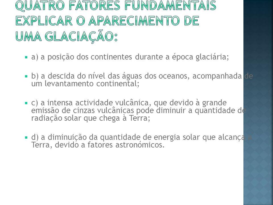 quatro fatores fundamentais explicar o aparecimento de uma glaciação: