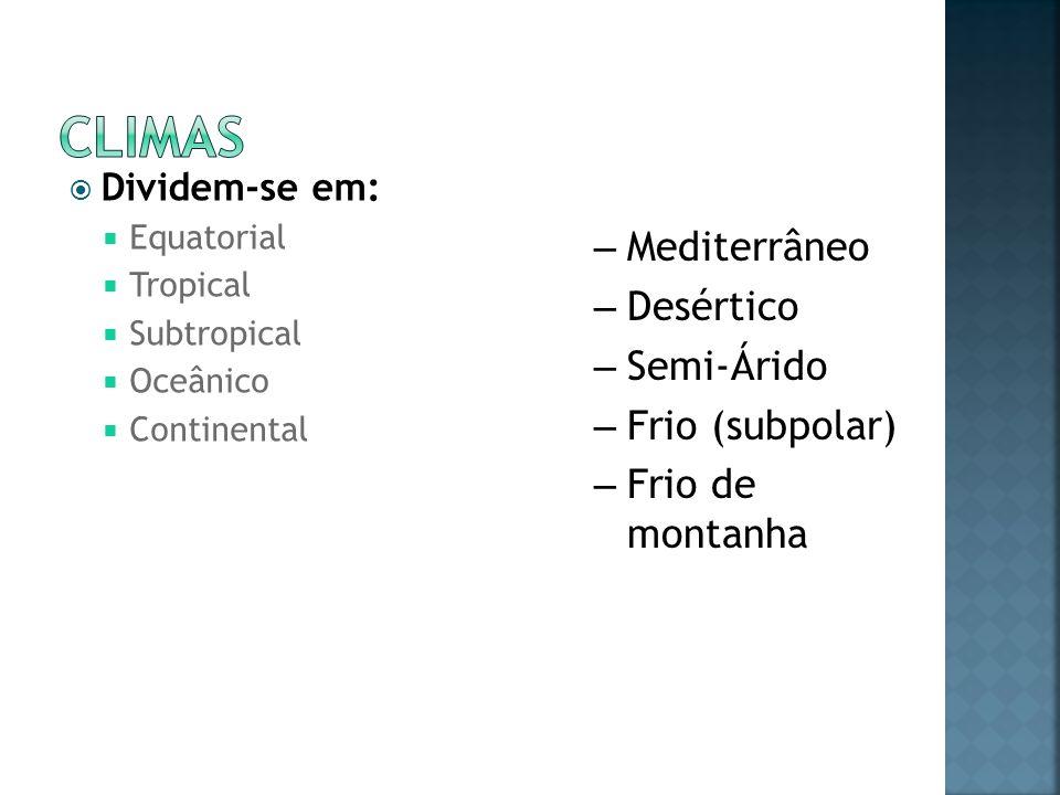 Climas Mediterrâneo Desértico Semi-Árido Frio (subpolar)