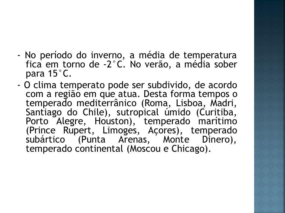 - No período do inverno, a média de temperatura fica em torno de -2°C