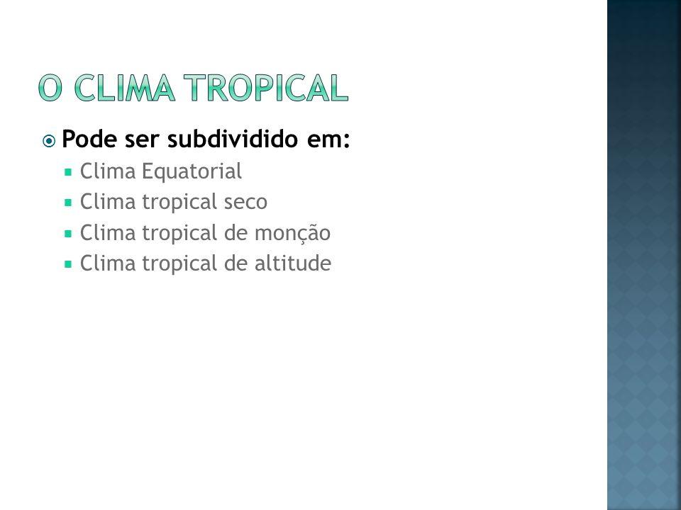 O clima tropical Pode ser subdividido em: Clima Equatorial