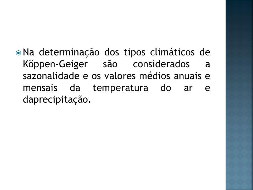 Na determinação dos tipos climáticos de Köppen-Geiger são considerados a sazonalidade e os valores médios anuais e mensais da temperatura do ar e daprecipitação.
