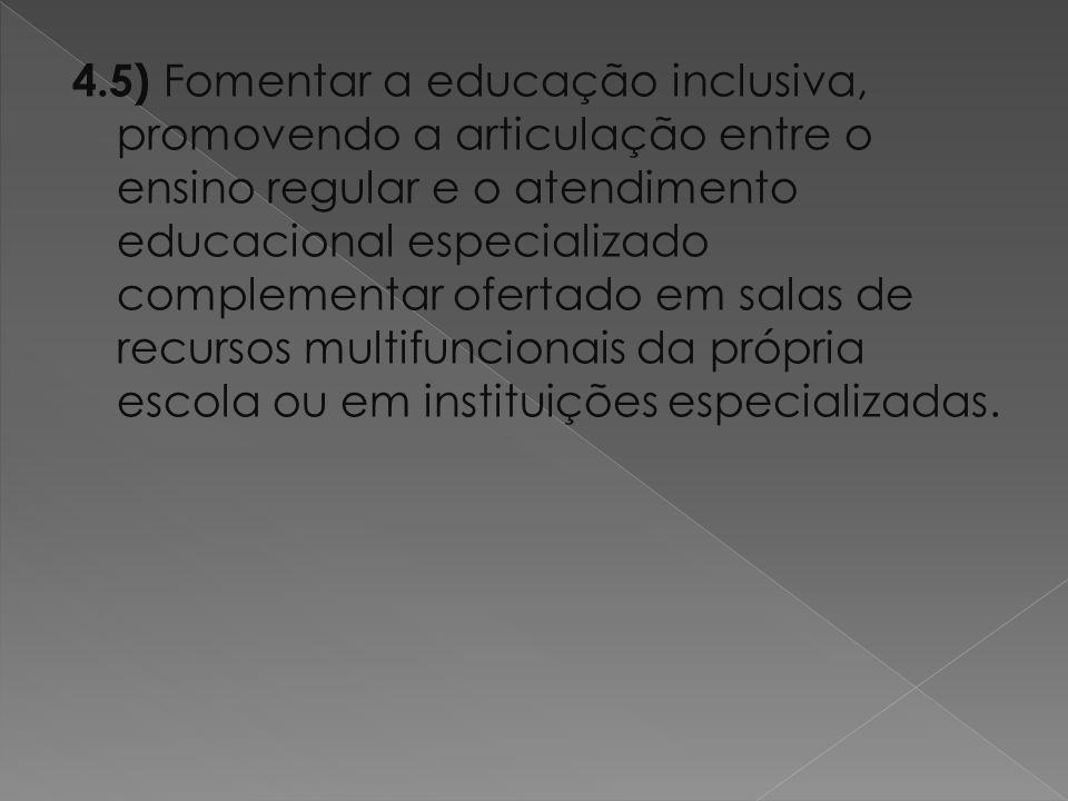 4.5) Fomentar a educação inclusiva, promovendo a articulação entre o ensino regular e o atendimento educacional especializado complementar ofertado em salas de recursos multifuncionais da própria escola ou em instituições especializadas.