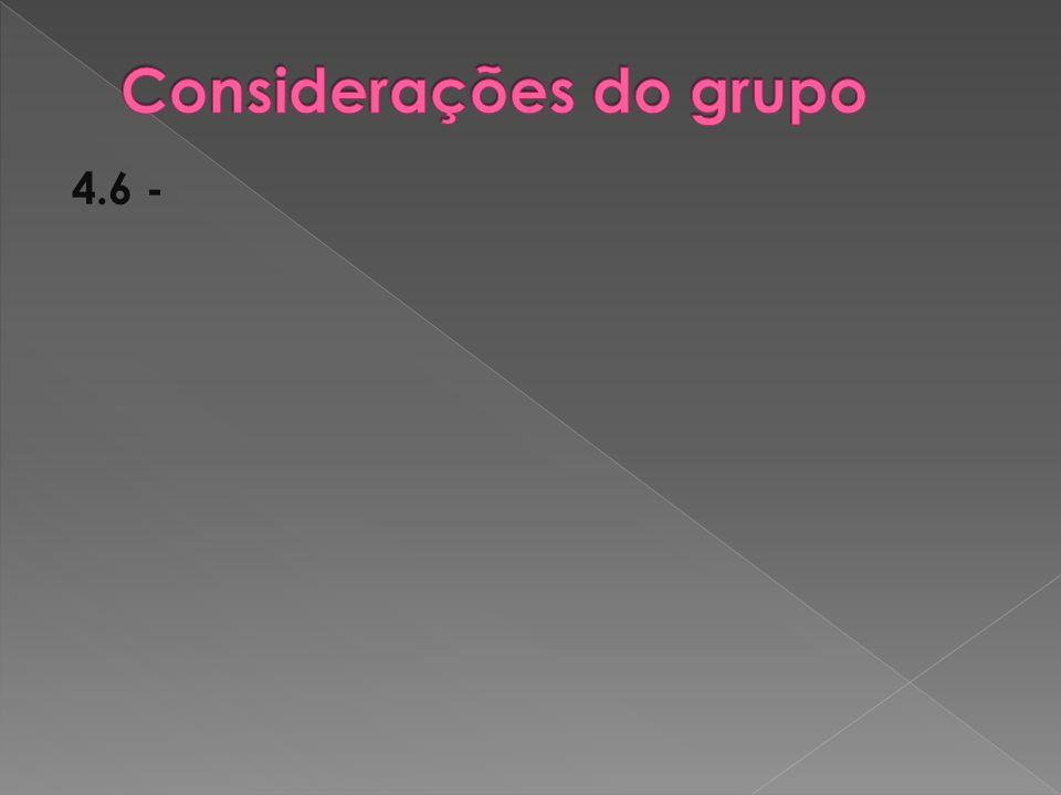 Considerações do grupo