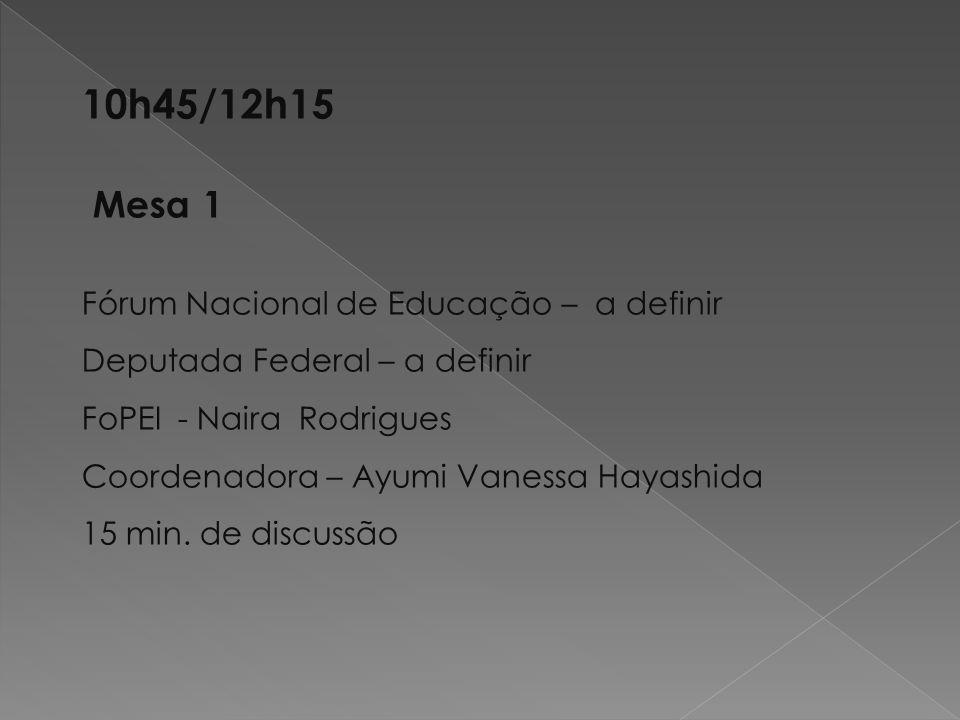 10h45/12h15 Mesa 1 Fórum Nacional de Educação – a definir