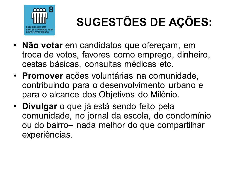 SUGESTÕES DE AÇÕES:Não votar em candidatos que ofereçam, em troca de votos, favores como emprego, dinheiro, cestas básicas, consultas médicas etc.