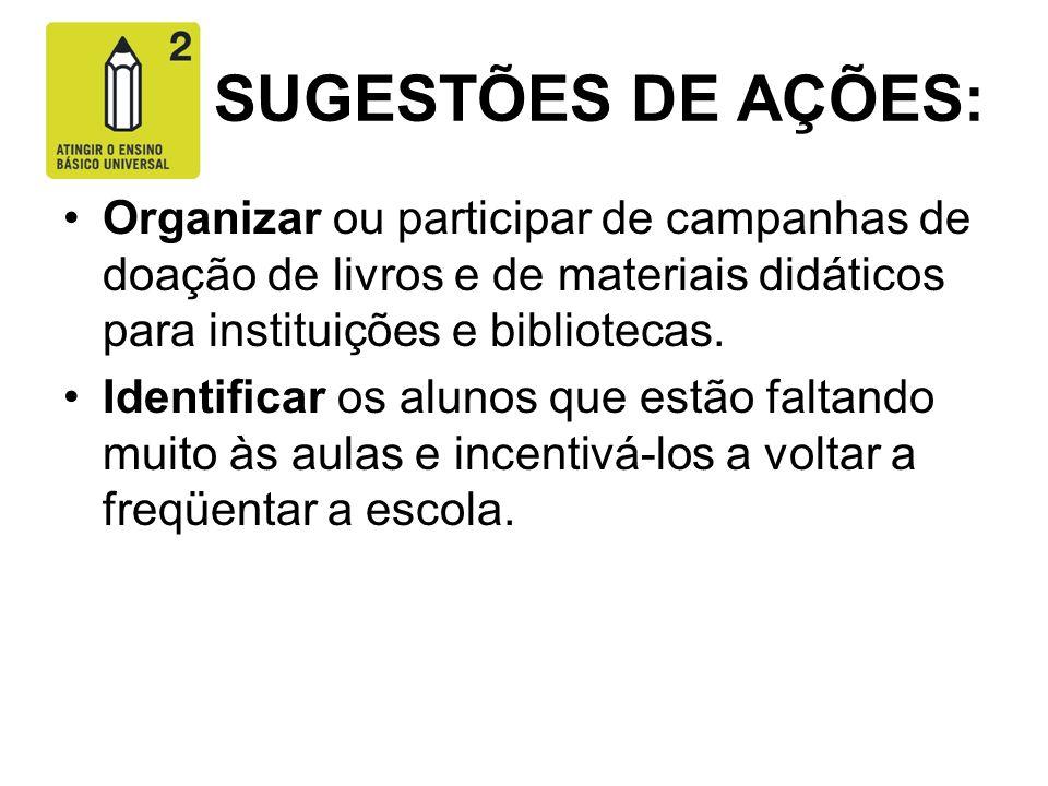 SUGESTÕES DE AÇÕES:Organizar ou participar de campanhas de doação de livros e de materiais didáticos para instituições e bibliotecas.