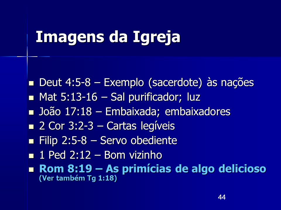Imagens da Igreja Deut 4:5-8 – Exemplo (sacerdote) às nações