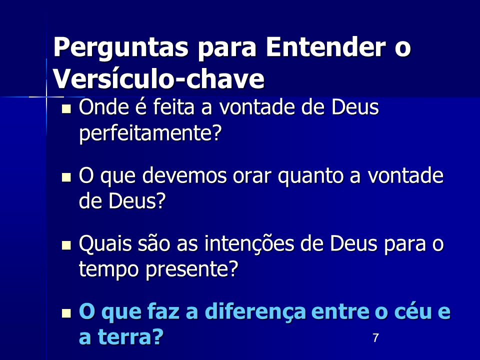 Perguntas para Entender o Versículo-chave