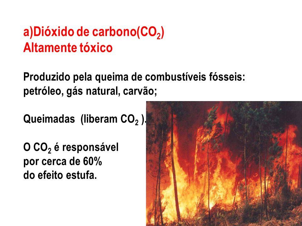a)Dióxido de carbono(CO2) Altamente tóxico Produzido pela queima de combustíveis fósseis: petróleo, gás natural, carvão; Queimadas (liberam CO2 ).