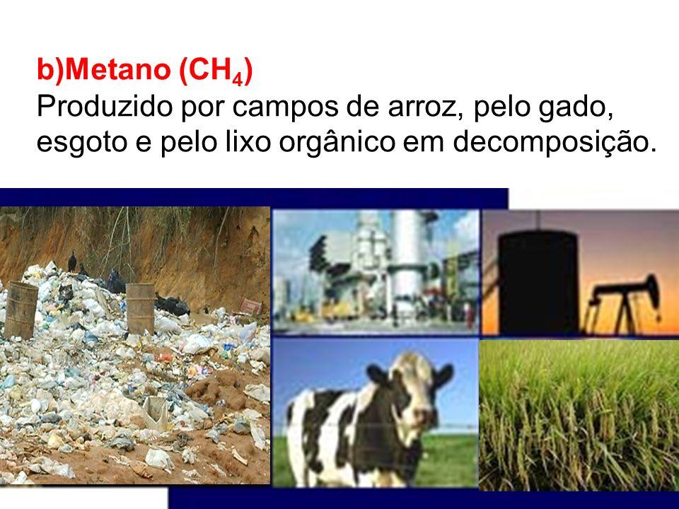 b)Metano (CH4) Produzido por campos de arroz, pelo gado, esgoto e pelo lixo orgânico em decomposição.