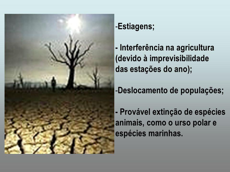 Estiagens;- Interferência na agricultura. (devido à imprevisibilidade. das estações do ano); Deslocamento de populações;
