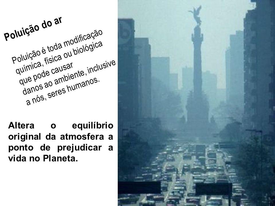 Poluição do ar Poluição é toda modificação química, física ou biológica que pode causar. danos ao ambiente, inclusive a nós, seres humanos.