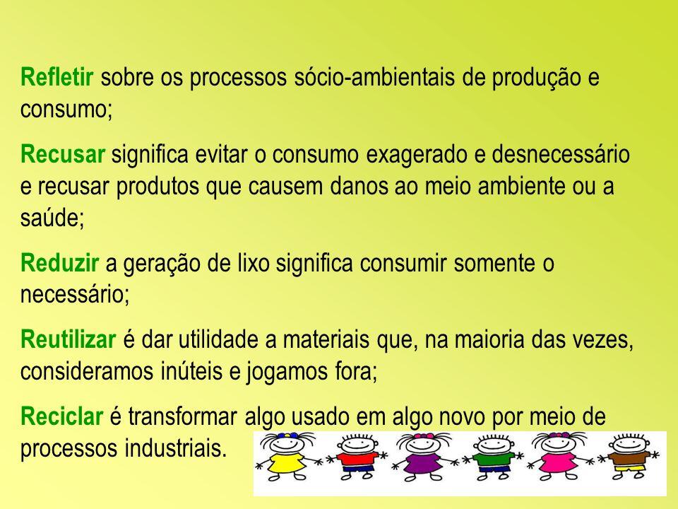 Refletir sobre os processos sócio-ambientais de produção e consumo;