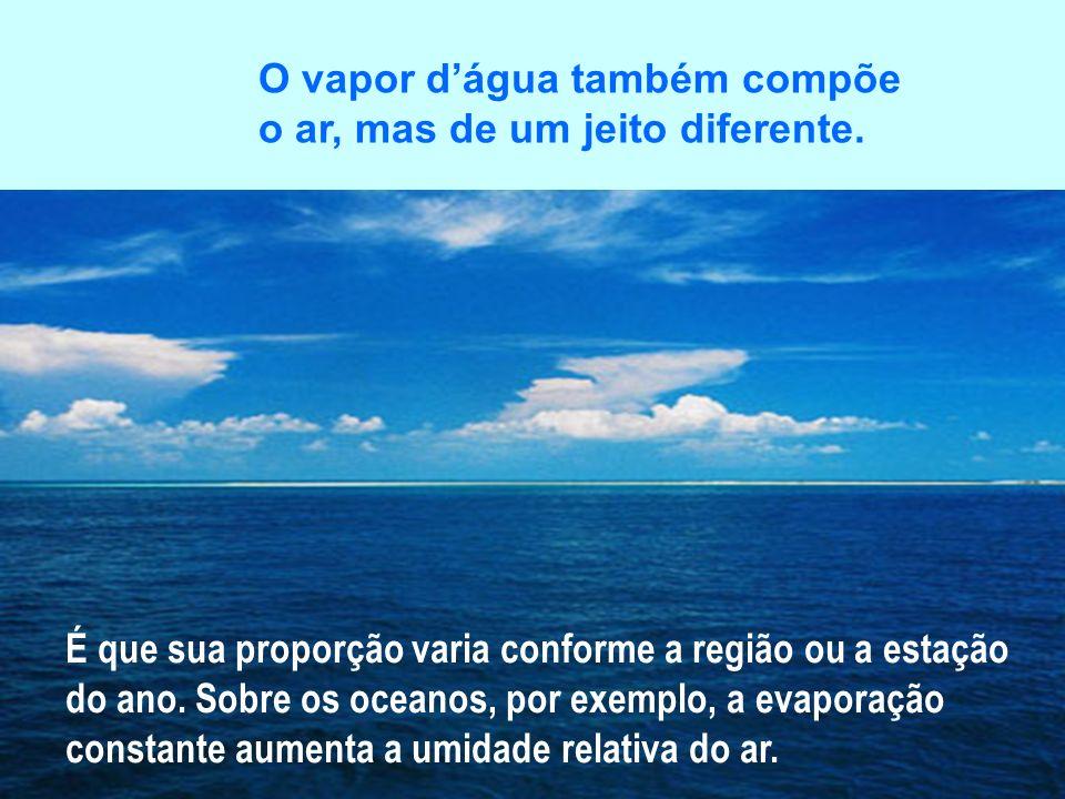 O vapor d'água também compõe o ar, mas de um jeito diferente.