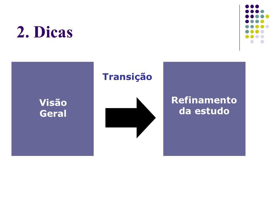 2. Dicas Visão Geral Refinamento da estudo Transição