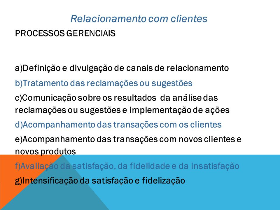 Relacionamento com clientes