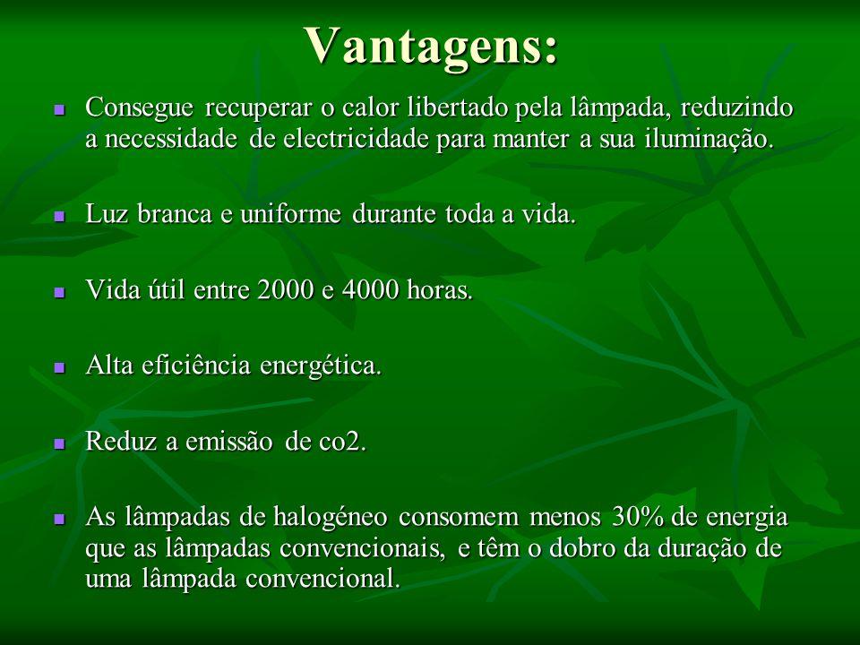 Vantagens:Consegue recuperar o calor libertado pela lâmpada, reduzindo a necessidade de electricidade para manter a sua iluminação.