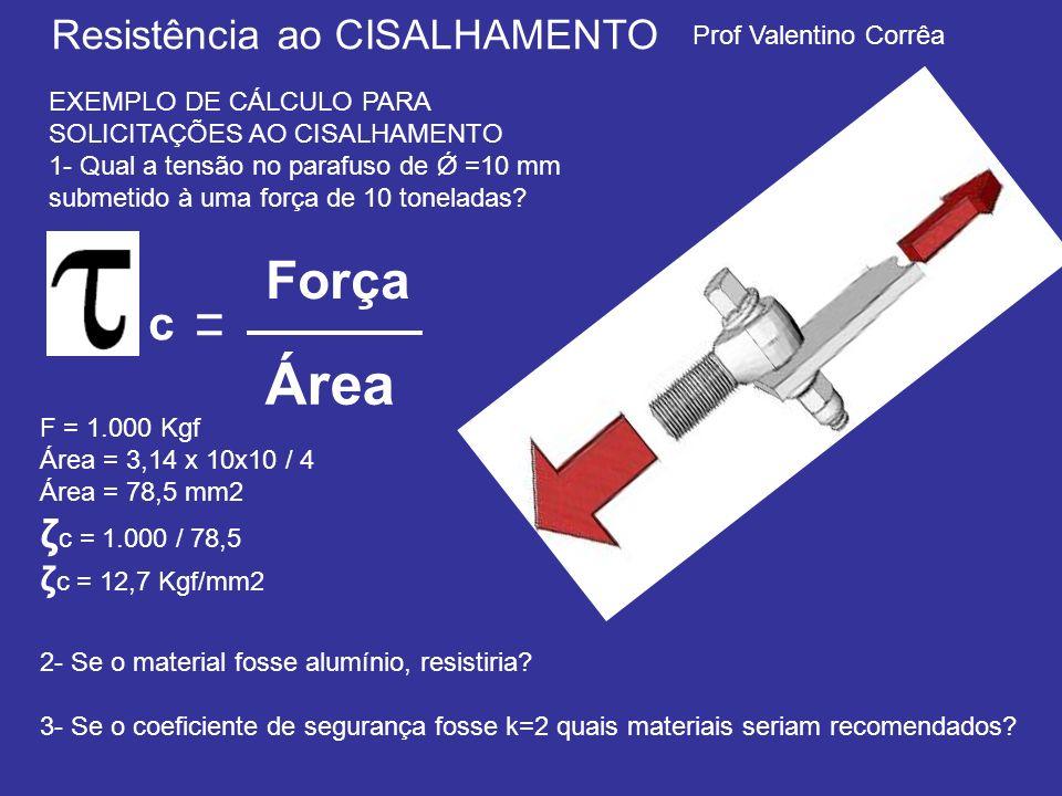 Área Força ζc = 1.000 / 78,5 ζc = 12,7 Kgf/mm2