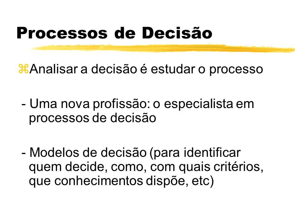 Processos de Decisão Analisar a decisão é estudar o processo