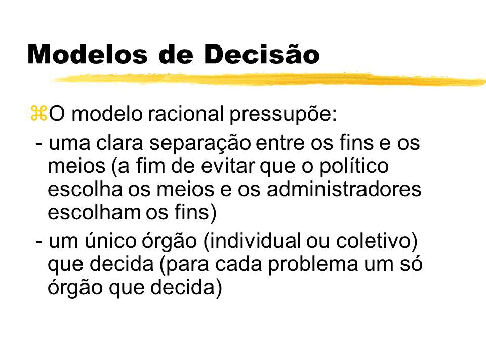 Modelos de Decisão O modelo racional pressupõe: