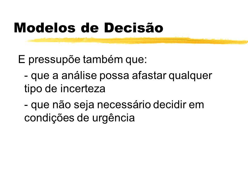 Modelos de Decisão E pressupõe também que:
