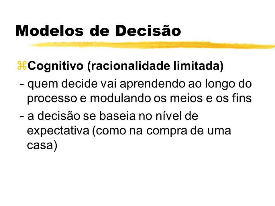 Modelos de Decisão Cognitivo (racionalidade limitada)