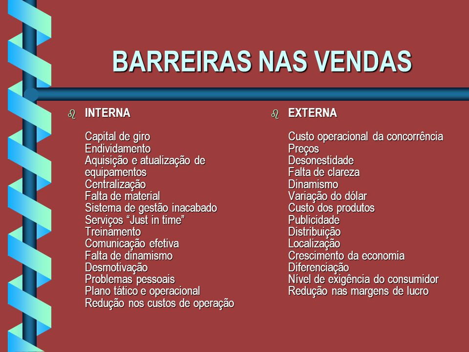 BARREIRAS NAS VENDAS