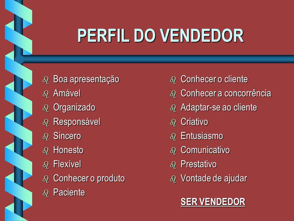 PERFIL DO VENDEDOR Boa apresentação Amável Organizado Responsável