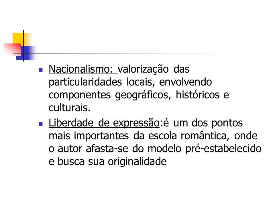 Nacionalismo: valorização das particularidades locais, envolvendo componentes geográficos, históricos e culturais.