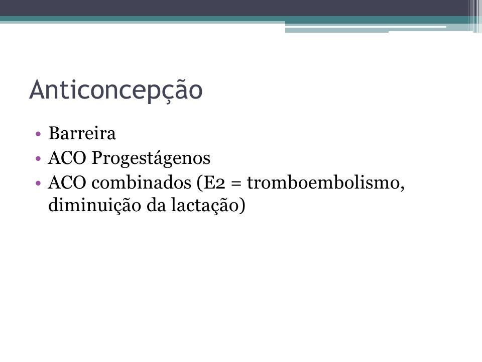 Anticoncepção Barreira ACO Progestágenos