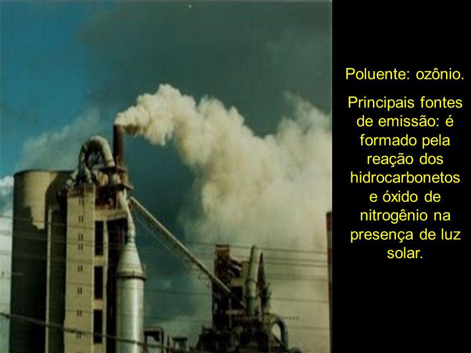 Poluente: ozônio.Principais fontes de emissão: é formado pela reação dos hidrocarbonetos e óxido de nitrogênio na presença de luz solar.