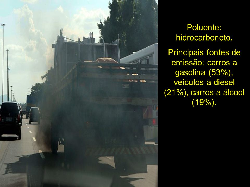 Poluente: hidrocarboneto.