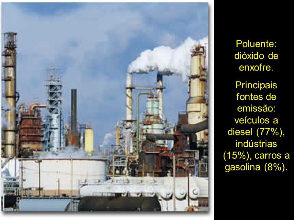 Poluente: dióxido de enxofre.