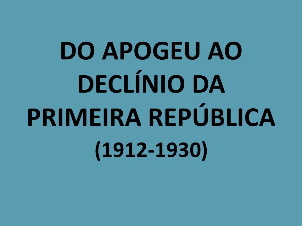 DO APOGEU AO DECLÍNIO DA PRIMEIRA REPÚBLICA