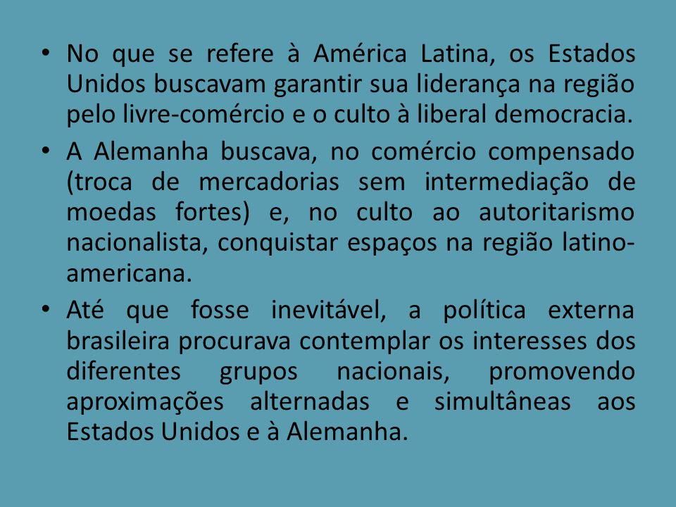 No que se refere à América Latina, os Estados Unidos buscavam garantir sua liderança na região pelo livre-comércio e o culto à liberal democracia.